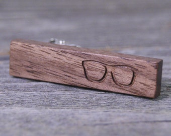 Hipster Tie Bar: American Black Walnut with Glasses Engraving