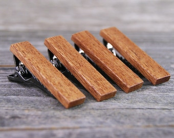 Cherry Wood Tie Bar Engraved in The USA Wooden Accessories Company Wooden Tie Clips with Laser Engraved Interlocking Squares Design