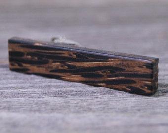 Tie Clip: Black Palm Wood