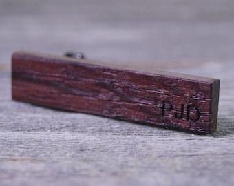 Custom Engraved Skinny Tie Clip - Wine Barrel Stave Wood