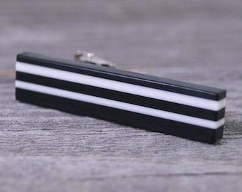 Mens Tie Clip - Modern Black and White Stripes