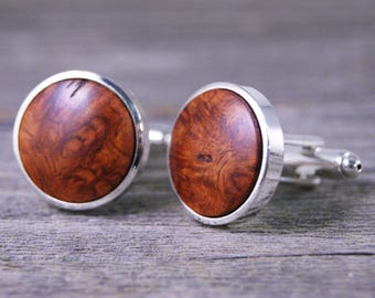 Men's Cufflinks Handcrafted from Asian Amboyna Burl