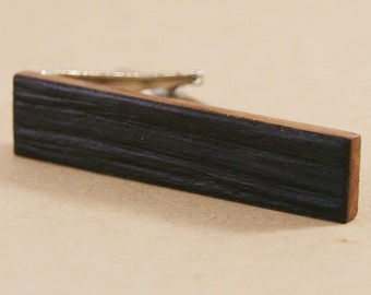 """Skinny Wooden Tie Clip: Whiskey Barrel Charred Natural Edge - 1.6"""" long tie bar"""