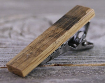 Tie Bar: Rustic Weathered Oak tie clip
