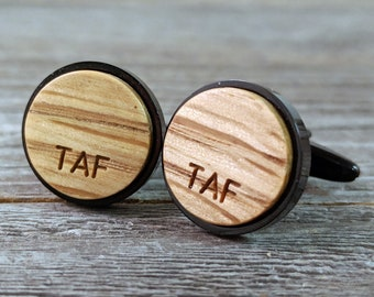 Custom Cufflinks Made From a Whiskey Barrel / Personalize with Initials / Personalized Groomsmen Gifts / Wedding Cufflinks