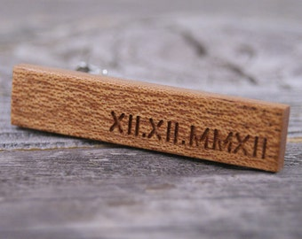 Engraved Mahogany Tie Clip - Personalize this tie bar with the date or initials of your choice!