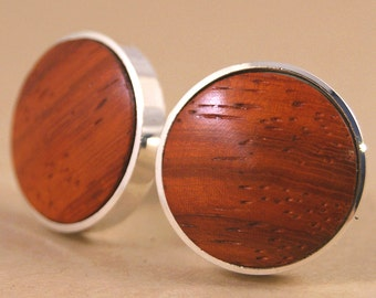 Wood Cufflinks - African Bubinga Thin Bezel cuff links - Available in Gunmetal!