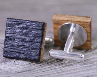 Whiskey Barrel Wood Cufflinks / Wedding Cufflinks / Gift for Groom / Gift for Men / Wooden / Best Man Gift / Cuff Links / Bourbon