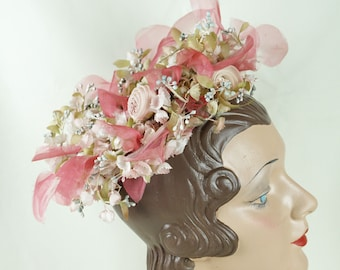 1960s Miss Dior Vintage Pink Flowered Wreath Hat Christian Dior