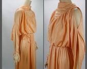 Vtg Cold Shoulder Dress, Tangerine Party Dress, 70s Disco Dress, B40