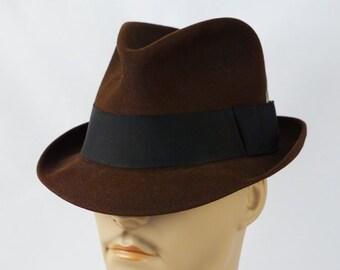 5edf4ee8 Vintage Dark Brown Trilby Fedora Hat Blue Chip by Champ Sz 7 1/8