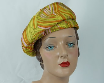 1960s Vintage Hat Psychedelic Neon Yellow Bubble Crown Banded Beret by Marche Sz 21.5