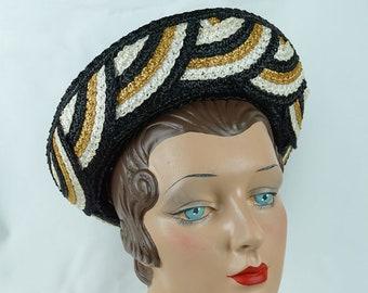 1960s Vintage Hat Black Straw Breton by Mr John Empress Line Sz 21
