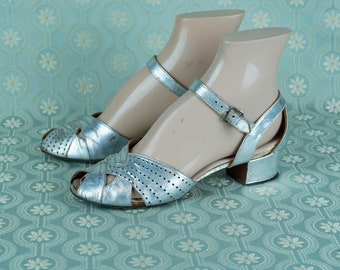Beautiful pair of 1930s lam\u00e9 evening shoes
