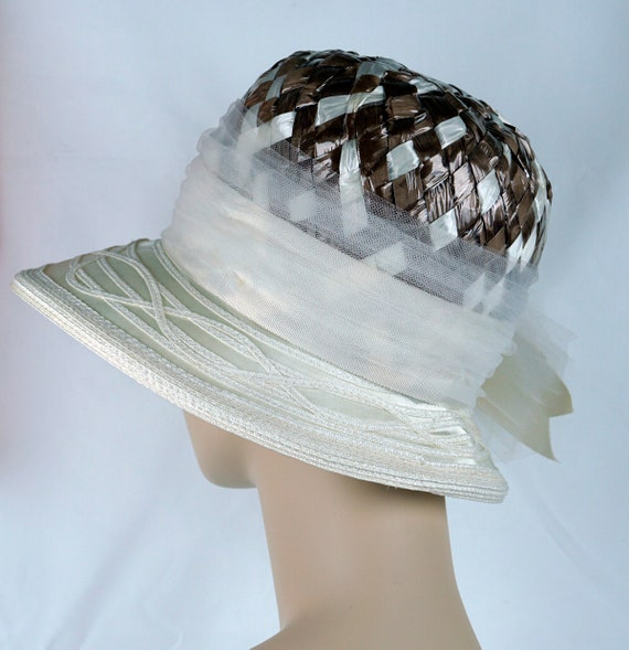 Capeline Wide Brim Hat, Taupe and Ivory Hat, Flor… - image 5