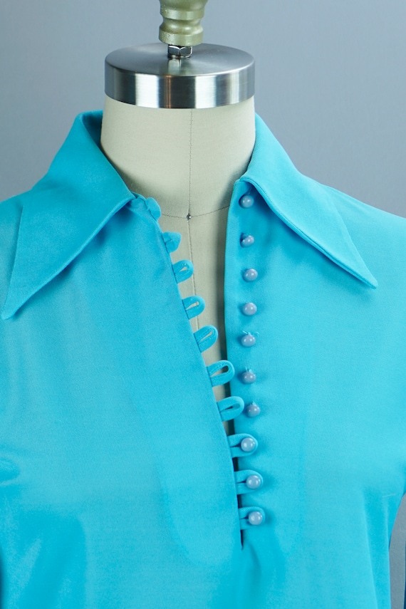 Vintage Blouse, 70s Teal Blouse, Long Sleeve Blous