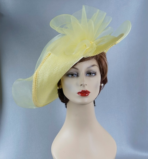 Statement Hat, Yellow Wide Brim Hat, Yellow Straw… - image 8