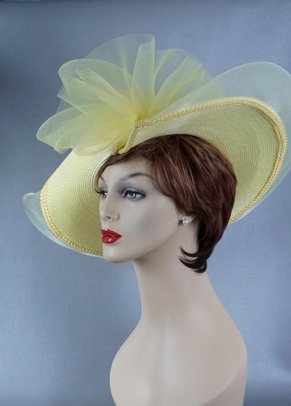 Statement Hat, Yellow Wide Brim Hat, Yellow Straw… - image 4