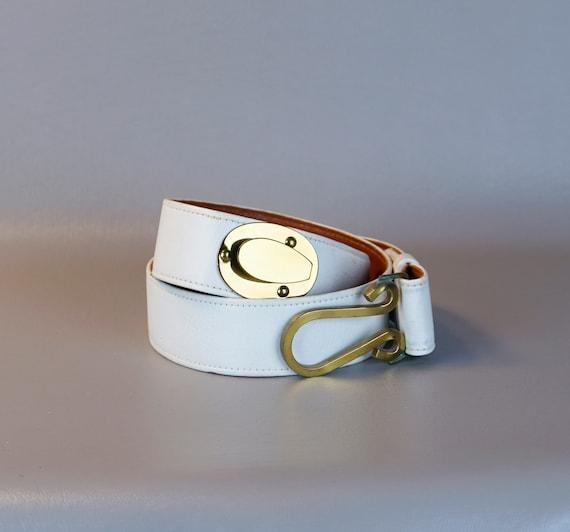 Vintage Belt, Roger Van S Belt, White Leather Belt