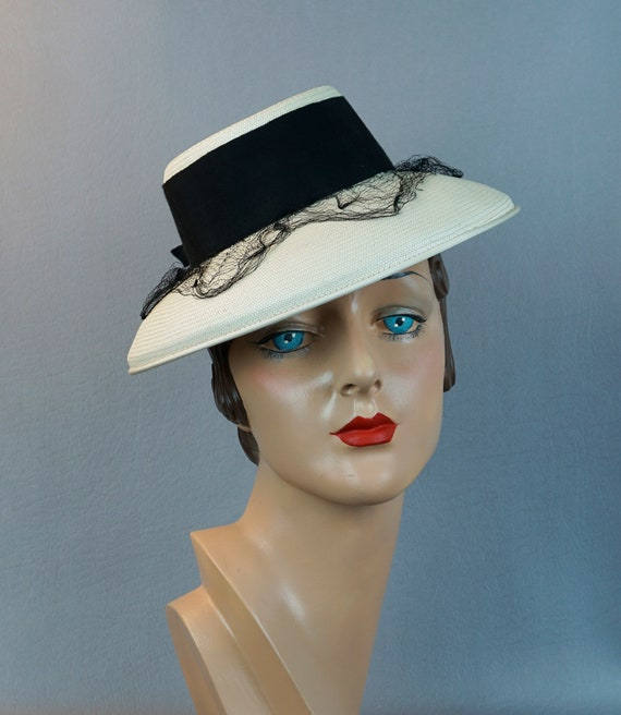 Vintage Hat, 1940s Antique White Straw Tipster, 40