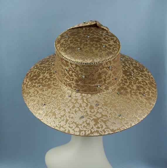 Wide Brim Hat, Gold Brocade Statement Hat, Rhines… - image 4