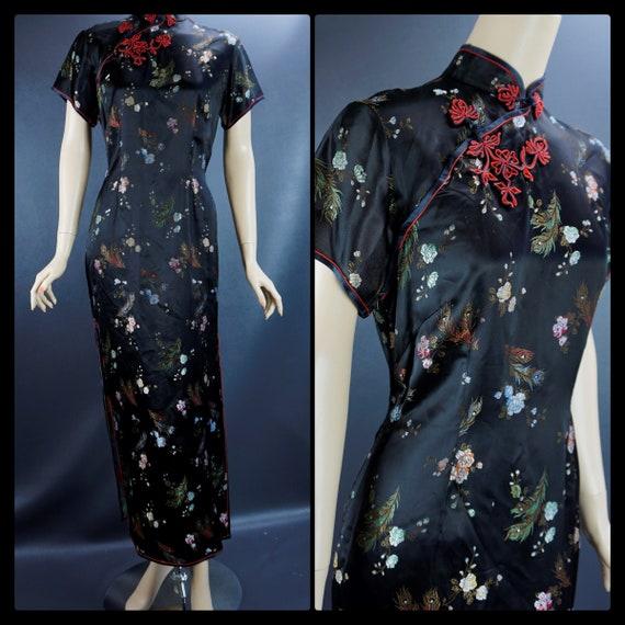 Vintage Cheongsam, Black Satin Rayon Embroidered,