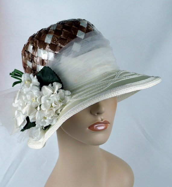 Capeline Wide Brim Hat, Taupe and Ivory Hat, Flor… - image 2
