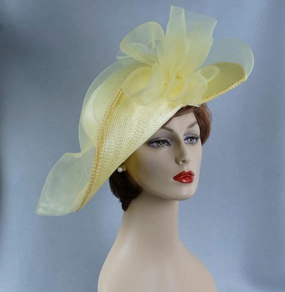 Statement Hat, Yellow Wide Brim Hat, Yellow Straw… - image 2