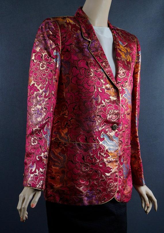 1980s Blazer, Hot Pink and Gold Brocade Jacket, C… - image 6