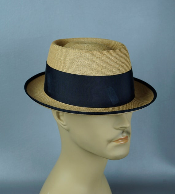 Vtg Fedora, Straw Pork Pie Fedora, Milan Straw Fed