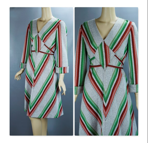 Vintage Dress, 1970s Chevron Dress, Grey Green and