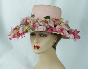 1960s Vintage Hat Pale Pink Flowered Wide Brim by Dana Marte Sz 21