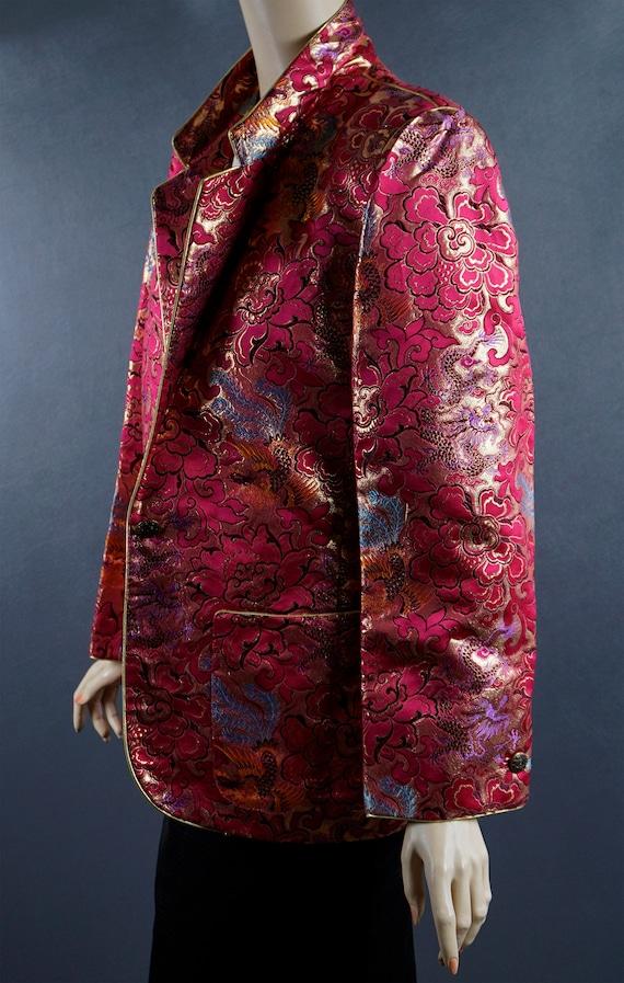 1980s Blazer, Hot Pink and Gold Brocade Jacket, C… - image 2