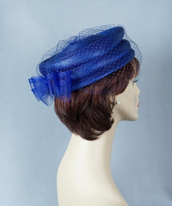 Royal Blue Pillbox Hat, Veiled Pillbox, Stacked St