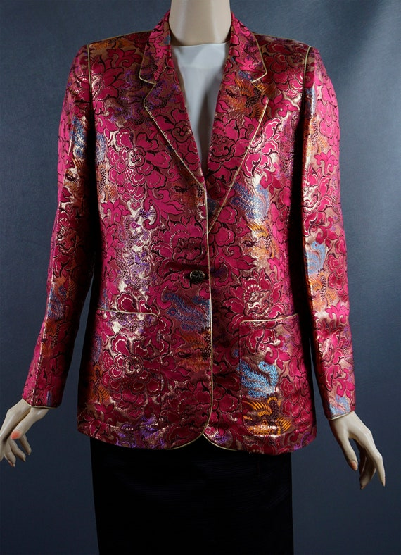 1980s Blazer, Hot Pink and Gold Brocade Jacket, Ch