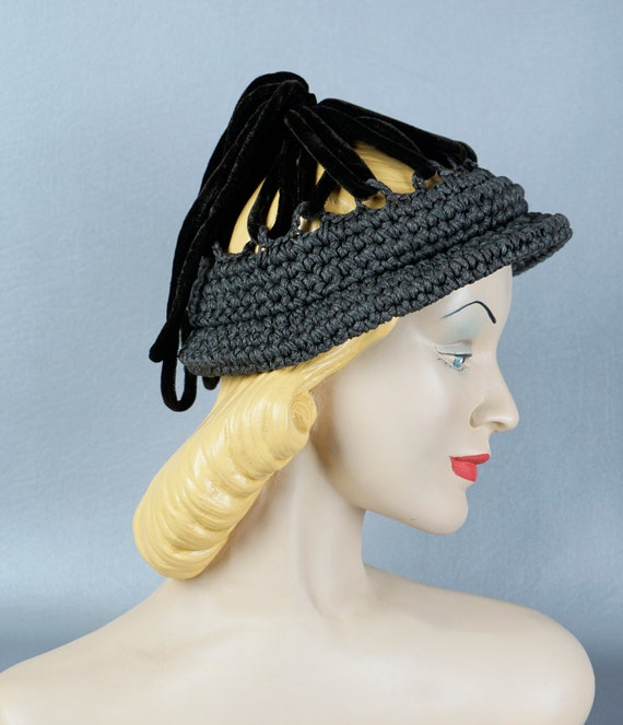 Vintage Hat, 40s Crochet Hat, Grey Crochet Cloche,