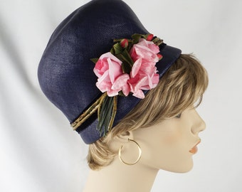 Vintage 1960s Hat Navy Blue Bubble Crown with Pink Flowers by Mr John Sz 21
