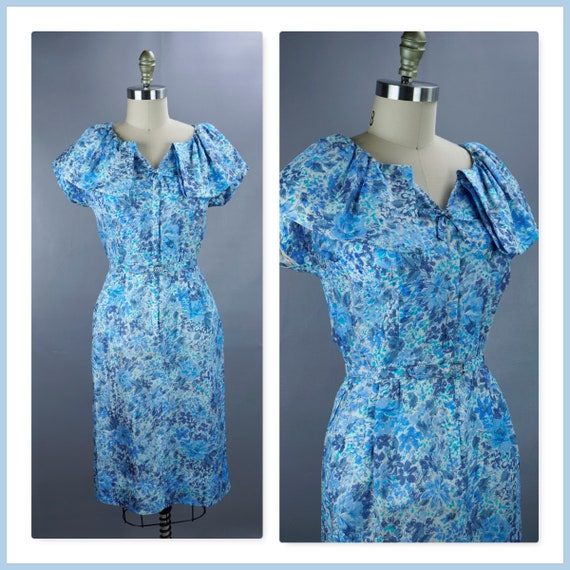 Vintage Dress, 1950s Blue Floral Dress, Zip Front
