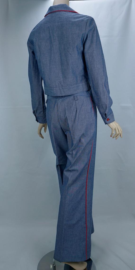 Vtg Pantsuit, MOD Pant Suit, Denim Suit, Bell Bot… - image 4