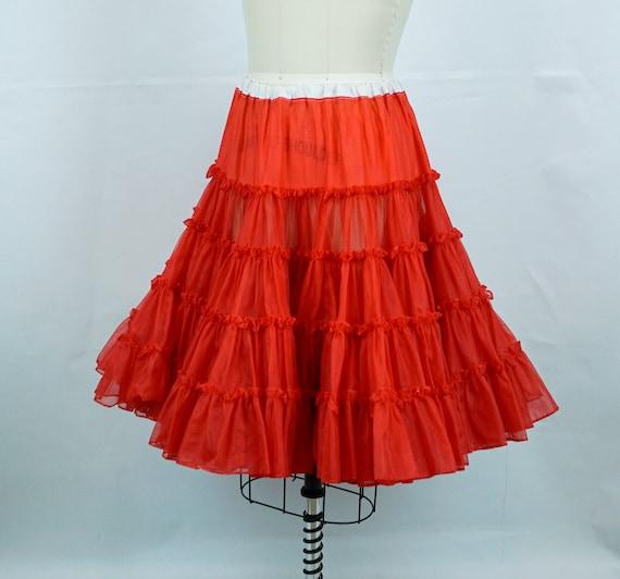Bright Red Crinoline, 1950s Full Ruffled Crinoline