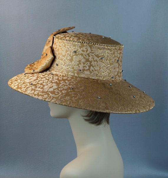 Wide Brim Hat, Gold Brocade Statement Hat, Rhines… - image 8
