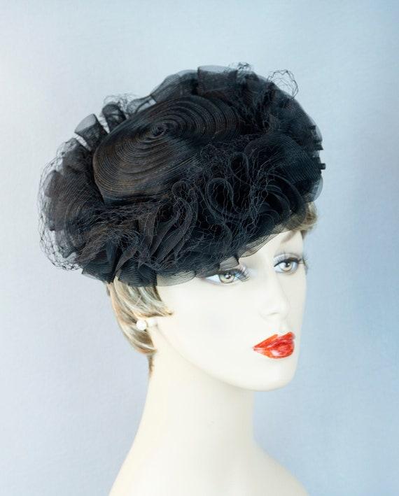 Vintage Hat, 40s Tilt Hat, Black Ruffled Tilt, 40s