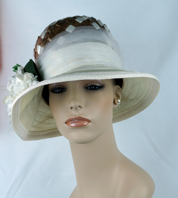 Capeline Wide Brim Hat, Taupe and Ivory Hat, Flor… - image 3