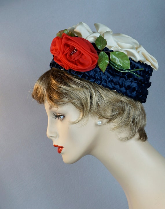 Vintage Hat, Navy Blue Straw Pillbox, Silk Rose Pi