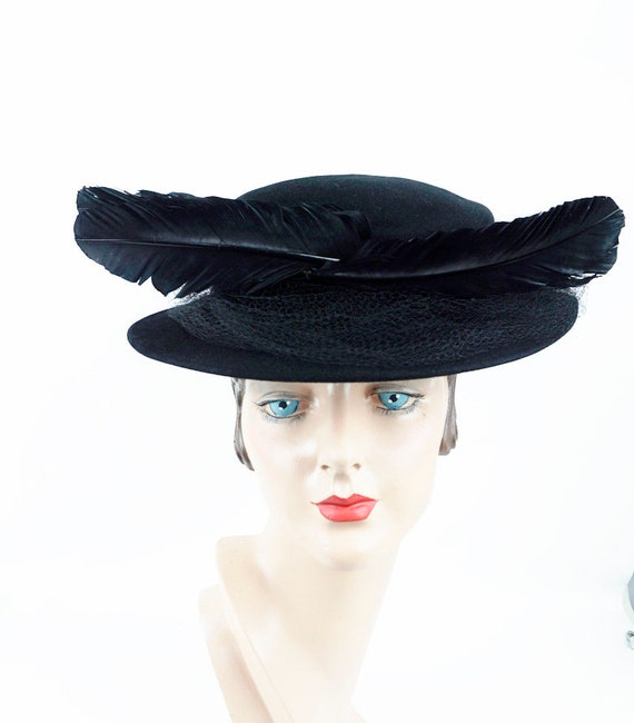 Vintage Hat, Black Feathered Boater, Marlea Hats,