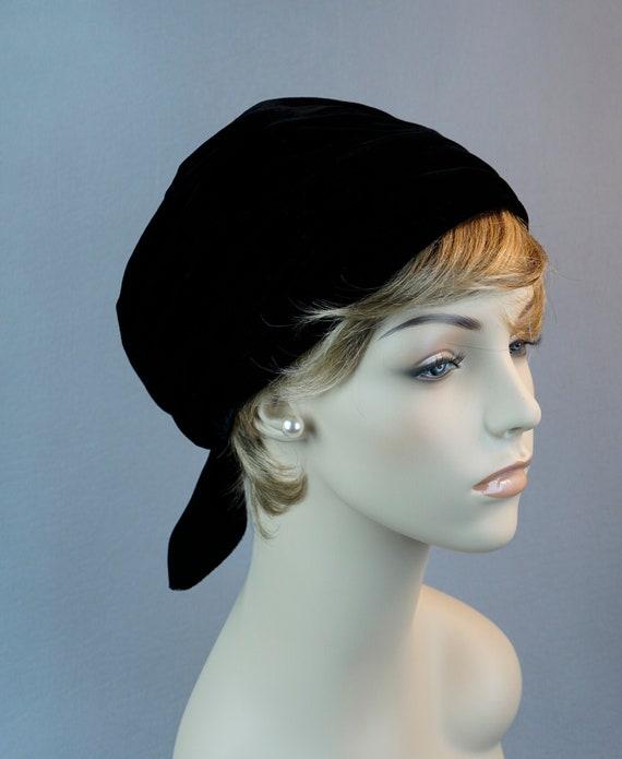 Black Velvet Turban, Vintage Velvet Hat, Adjustabl
