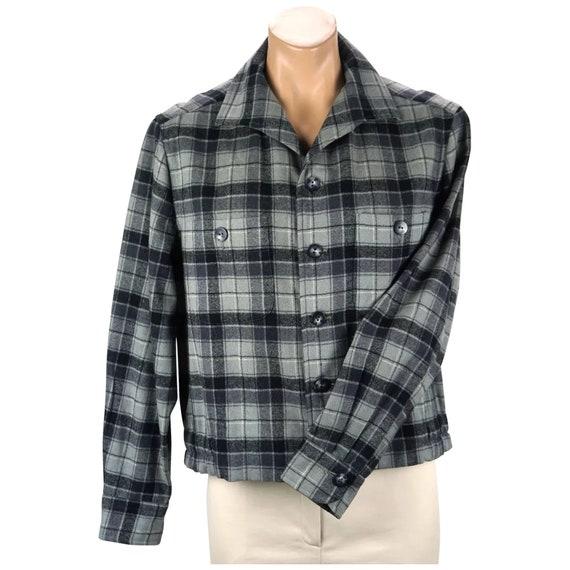 Vintage Mans Jacket, Blue Grey Wool Jacket, Plaid