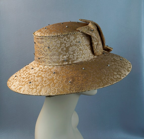 Wide Brim Hat, Gold Brocade Statement Hat, Rhines… - image 7