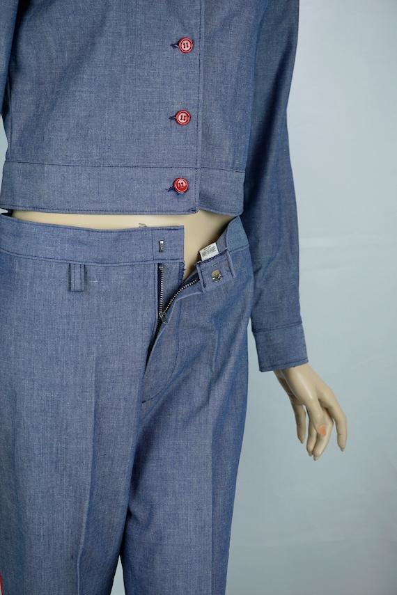 Vtg Pantsuit, MOD Pant Suit, Denim Suit, Bell Bot… - image 8