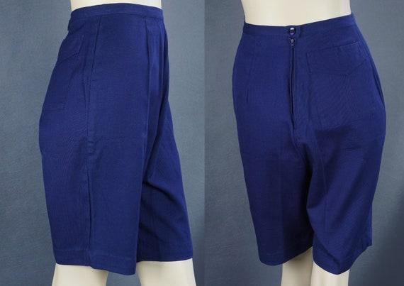 60s Bermuda Shorts, Navy Blue Shorts, Cotton Twill